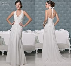Wholesale Sexy Exquisite Halter Low Back Sweep Train Applique Crystal Ruche Wedding Dresses Wedding Gowns, Free shipping, $154.09/Piece | DHgate