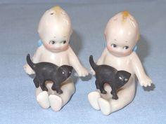 Vintage Rose O'Neill ~ KEWPIE with BLACK CAT ~ Salt & Pepper Shakers
