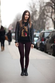burgundy pants + quilted leather jacket