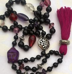Happymala necklace with black, red, clear and purple glass/stone beads, silver details and red tassel. Use it as necklace or bracelet. Purple Glass, Stone Beads, Jewerly, Tassels, Handmade Jewelry, Beaded Bracelets, Yoga, Red, Silver