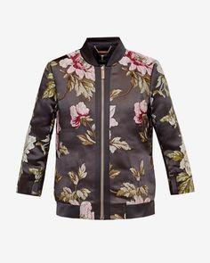 Floral jacquard bomber jacket - Gunmetal   Jackets & Coats   Ted Baker UK