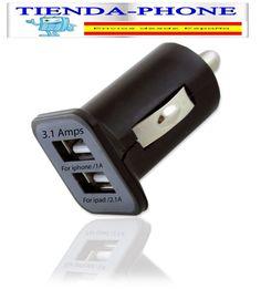 Cargador Mechero Coche Doble usb 3.1A universal cuadrado para Smartphone negro