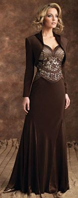 La Traviata Gown    Silky crepe suit gown, mocksleeveless sweetheart neckline with intricately embroidered and handbeaded bodice, brafriendly straps, slenderizing gored skirt and bolero jacket.