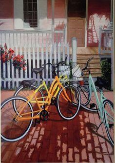 print  Comrades   bikes by LynnNeuman on Etsy