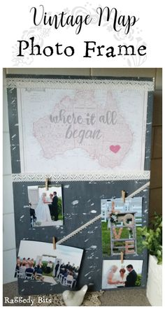 See how to make your very own Vintage Map Photo Frame, using a mirror, a vintage map and some scrapbooking embellishments.