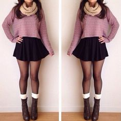 super cute fall outfit; I can do this with my white skirt and purple high low top and purple tights with grey boots! #inspired