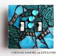 Amazing Aqua - Turquoise Double Mosaic Light Switch Cover Wall Plate