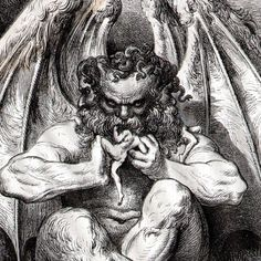Lucifer by Gustav Dore. Gustave Dore, Norman Rockwell, Rockwell Kent, Dante Alighieri, Arte Horror, Horror Art, Gravure Illustration, Illustration Art, Gravure Photo