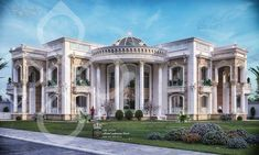 New Classic Palace on Behance Classic House Exterior, Modern Exterior House Designs, Classic House Design, Dream House Exterior, Modern House Plans, Classic Style, House Outside Design, House Front Design, Big Mansions