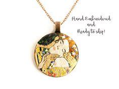 The Kiss, Klimt, Miniature Art embroidery, Gustave Klimt, Hand embroidered Jewelery,Statement Necklace, Pendant, Necklace, Fiber art,Kiss