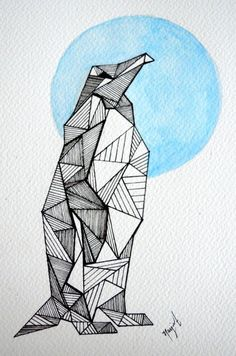 This item is unavailable Penguin Drawing, Penguin Art, Abstract Drawings, Art Drawings, Pinguin Illustration, Pinguin Tattoo, Pottery Painting, Geometric Art, Drawing Reference