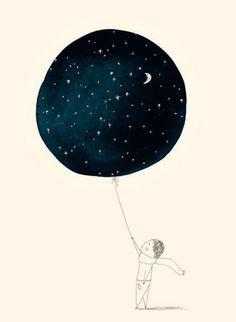 A beautiful illustration evoking a feeling of wanderlust, and wanting something more. A beautiful (what I assume to be) watercolour / watercolor of space within a balloon held by a cartooned small child. Art And Illustration, Illustrations Posters, Balloon Illustration, Art Graphique, Art Design, Oeuvre D'art, Illustrators, Cool Art, Art Photography