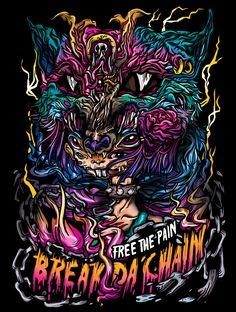 wolf girl break the chain kawaii tshirt apparel girly lowbrow surreal wolf demon design graphic punk