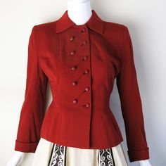 1940s WWII Tailored Jacket 6 red, fashion, unknown