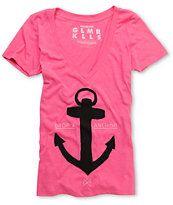 Glamour Kills Drop And Anchor Pink V-Neck Tee Shirt
