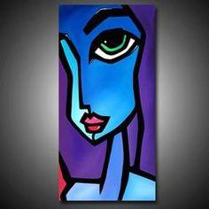 Art 'The Look' - by Thomas C. Abstract Face Art, Oil Painting Abstract, Tableau Pop Art, Cubist Art, Hippie Painting, African Art, Modern Art, Art Drawings, Original Art