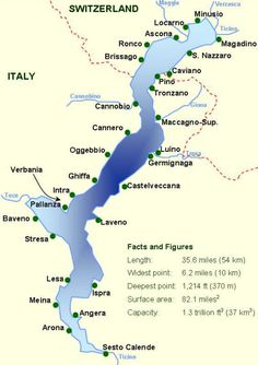 Map with all the towns on Lake Maggiore - you can see that the lake is divided: part in Italy and part in Switzerland #italy #map #travel