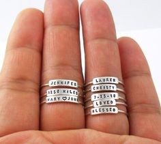 SALE - Petite and Dainty Personalized Stackable Ring - Name, Date, Inspiration, Any word for Birthday, Mother, Daughter, Child, Family Gift by SilverMore on Etsy https://www.etsy.com/listing/228923928/sale-petite-and-dainty-personalized
