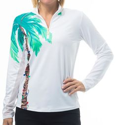 Check out what Loris Golf Shoppe has for your days on and off the golf course! SanSoleil Ladies & Plus Size SolCool Print Long Sleeve Zip Mock Golf Shirts - Holiday Palm