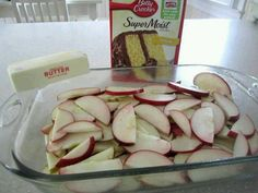 Fresh Apple Cake - Spread sliced fruit on bottom of spread cake mix over, then pour 1 stick butter melted over all. Bake for 35 to 45 minutes I used a spice cake mix and fresh apples from out tree it was a hit. Fresh Apple Cake, Fresh Apples, Fresh Fruit, Sliced Apples, Apple Pie Cake, Fresh Cranberries, Apple Recipes, Sweet Recipes, Yummy Recipes