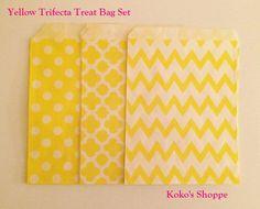 Yellow Trifecta Treat Bags 3 styles mixed by KokosShoppe on Etsy
