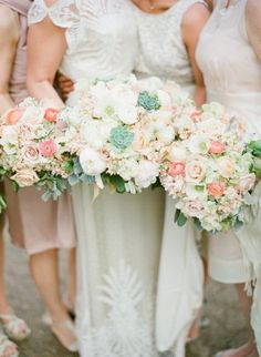 #bouquets pink and white roses, peonies and succulents |  Photography by austinwarnock.com |  Floral Design by wkf.com |   Read more - http://www.stylemepretty.com/2013/06/27/missouri-wedding-from-austin-warnock-photography/