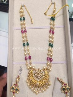 Looking for traditional pearl chain designs and where to shop them? Here are 23 best of models that are super hit this year. Beaded Jewellery, Gold Jewellery Design, Pearl Jewelry, Gold Jewelry, Jewelery, Amethyst Necklace, Beaded Necklace, Statement Earrings Outfit, Pearl Necklace Designs