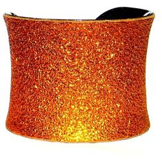 Crinkled Orange Metallic Genuine Leather Cuff Bracelet - by UNEARTHED ($50) ❤ liked on Polyvore