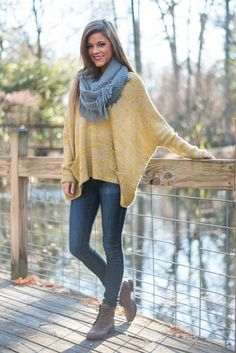 Slouchy Time Sweater, Yellow from The Mint Julep Boutique. Saved to clothes. Shop more products from The Mint Julep Boutique on Wanelo. Mint Julep Boutique, Yellow Sweater, Plaid Scarf, Going Out, What To Wear, Girl Fashion, Clothes For Women, My Style, Classic