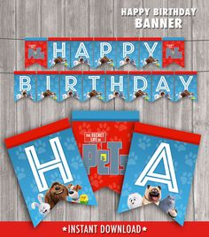 Secret Life of Pets Banner for Birthday Party - Matches Invitation - DIY Printable File JPEG and PDF - Instant Download