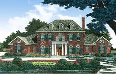 Beautifully proportioned, this graceful Georgian house plan has an imposing presence.Arched transoms top the dining room and living room windows and there are two round windows at each end of the house to balance it all off.The main staircase curves gracefully in the foyer, with the formal rooms on each side of the foyer.In back, the huge vaulted and beamed great room has lots of space for family and friends.The master suite gets a private lanai and a regal double tray ceiling.Each of the three