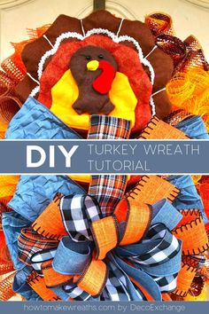 Y'all want to learn how to make a fun turkey wreath for your front door? It's time to break out the seasonal home decor and get festive! #howtomakewreaths #decoexchange #fallwreath #turkeywreath #thanksgivingwreath Make Your Own Wreath, Wreath Making, How To Make Wreaths, Fall Wreath Tutorial, Diy Fall Wreath, Thanksgiving Wreaths, Thanksgiving Decorations, Turkey Wreath, How To Make Turkey