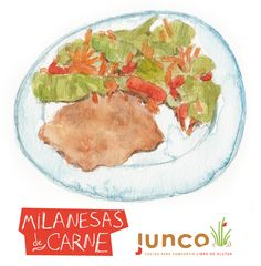 Milanesa and Salad watercolor illustration for Junco Foods. ©Flap Jackie by Maria Wright