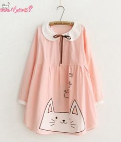 2017-Spring-Women-Dress-Japanese-Style-Mori-Girl-Sweet-Pink-Bow-Lacing-Doll-Collar-Cat-Embroidery