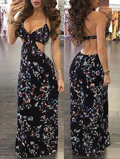 Vintage Women Floral Maxi Slip Dress