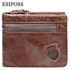 6f692485253a9 GZCZ Genuine Leather Wallet Men Zipper Design Bifold Short Male Clutch With  Card Holder Mini Coin Purse Crazy Horse PORTFOLIO-in Wallets from Luggage    Bags ...