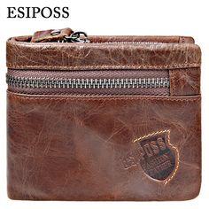 정품 소 가죽 남성 지갑 브랜드 로고 지퍼 디자인 Bifold 짧은 남성 지갑 남성 클러치 카드 홀더 동전 지갑 Walet