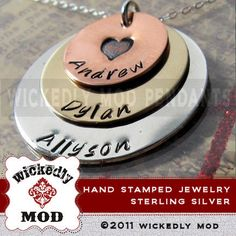Mommy Necklace - Mother Necklace - Hand Stamped Jewelry - Personalized Necklace - JANE three (3) layer mommy necklace. $68.00, via Etsy.