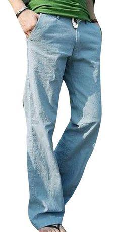 Long Loose Bucket Big Men's Linen Casual Straight Pants -- for Pete