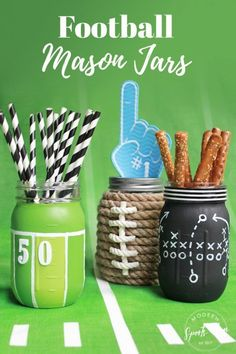 Football Mason Jars DIY - Football Party Mason Jar Craft - Football Party Centerpiece