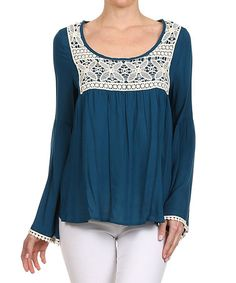 Another great find on #zulily! Teal & Ivory Crochet-Panel Top #zulilyfinds