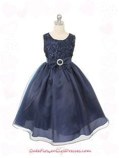 Navy Blue Horizontal Striped Bodice Flower Girl Dress  The niece picked this one. The top matches my dress.