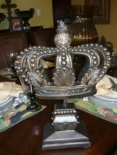Crown Finial. Old World, Medieval, Tuscan, French Country Home Decor. Crown was hand made and hand painted.