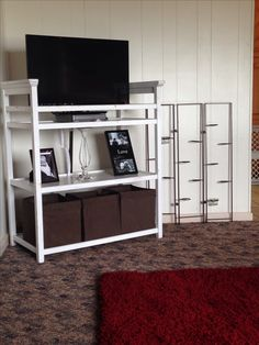 Changing table repurposed into TV stand with storage