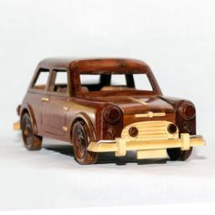 Mini Cooper : Handcrafted Mahogany Wooden Model Car - Mahogany Wood Art - Gift