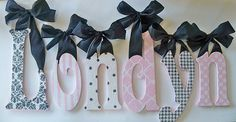 Glitter and Sparkle Custom Hand Painted Wall Letters - love for a nursery