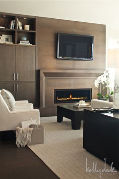 Fireplace surround - large size tile option...goodness yes