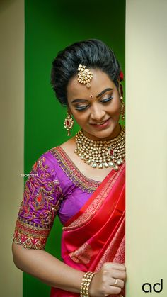 A Shopzters Exclusive - A Classic Bridal Shoot With The New Bride-To-Be in Town - Actress Suja Varunee Wedding Saree Blouse Designs, Pattu Saree Blouse Designs, Wedding Silk Saree, Saree Blouse Patterns, Fancy Blouse Designs, Designer Blouse Patterns, Bridal Sarees, Hand Work Blouse Design, Wedding Saree Collection