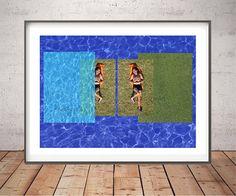 Swimming Pool Print, Art Print, Collage Instant download,Printable Art,Blue print, 4 JPG