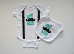 First Birthday Boy Mustache Chevron 1 and Suspenders by mamabijou, $40.00